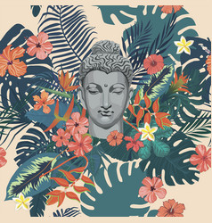 seamless exotic style pattern with buddha vector image