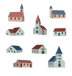 set collection village houses vector image