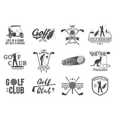 set golf club concept with golfer silhouette vector image