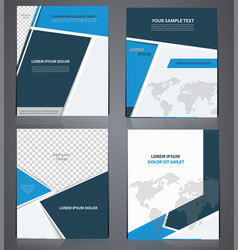 set of blue business brochures in one style vector image
