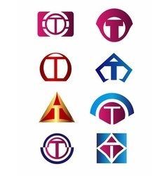 Set of letter T logo Branding Identity Corporate vector image