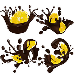 set of realistic chocolate splashes together lemon vector image