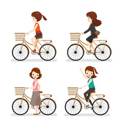 Set of woman riding bicycle with different actions vector