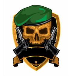 Skull handgun army logo cartoon vector