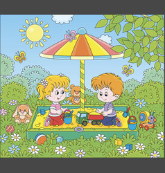 Small children playing in a sandbox on a sunny day vector