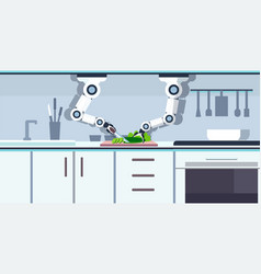 Smart handy chef robot cutting cucumber on board vector