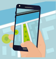 Smartphone with map on the screen vector image