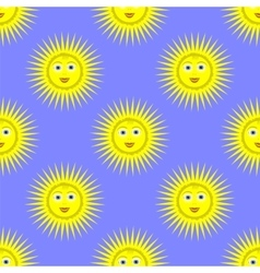 Smiling Yellow Sun Seamless Pattern vector