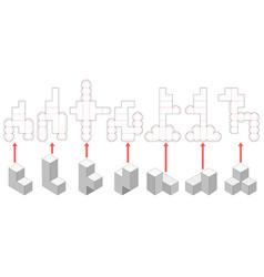 Soma cube die cut templates vector