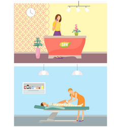 spa salon reception and body wrapping set vector image