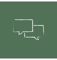 Speech square icon drawn in chalk vector