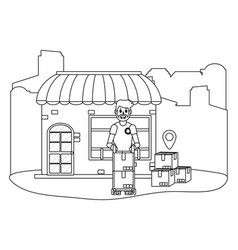 store with delivery guy vector image