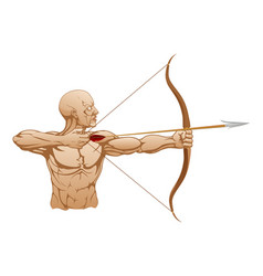 Strong archer with bow and arrow vector