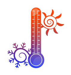 Sun snowflake and thermometer symbol vector