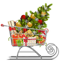 supermarket sleigh with christmas decorations vector image