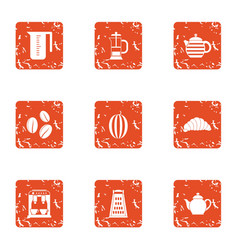 Tea delight icons set grunge style vector