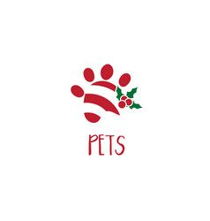 template icon paw print with mistletoe vector image