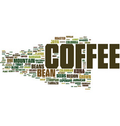 The coffee bean text background word cloud concept vector