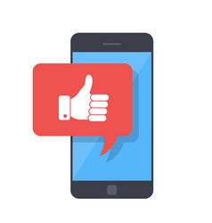 thumbs up icon with smartphone like message on vector image