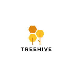 tree hive honey hexagon logo icon vector image