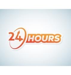 Twenty Four Hours Open Sticker Sign or vector