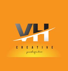 Vh v h letter modern logo design with yellow vector