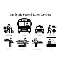 Virus pandemic second-liner workers icons food vector