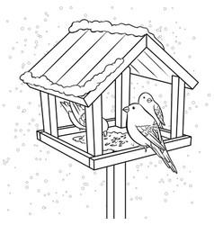 winter bird feeder coloring book vector image