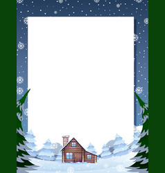 Winter cabin note template vector