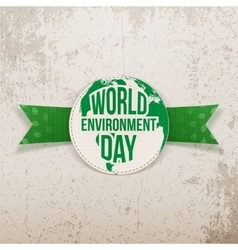 World Environment Day festive Label and Ribbon vector image