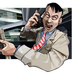 Cartoon man driving aggressively yells vector