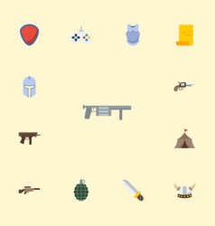 flat icons gun viking helmet parchment and other vector image vector image