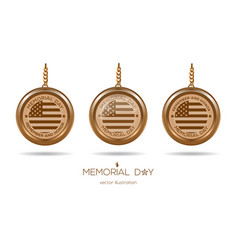 golden medallions set for memorial day in usa vector image vector image