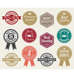 Set of retro quality and price guarantee tag vector image