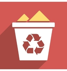 Full Recycle Bin Flat Long Shadow Square Icon vector image vector image