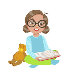 girl in glasses with teddy bear reading a book vector image vector image