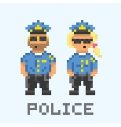 Police couple in pixel art style vector image