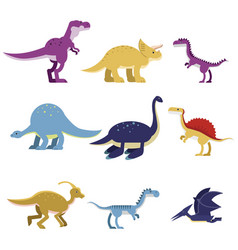 cartoon dinosaur animals set cute prehistoric and vector image vector image