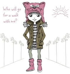cute girl in funny hat with a muzzle cat vector image vector image