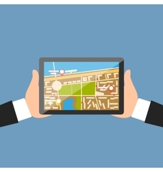 Hand with Tablet Navigation Design vector image vector image