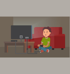 kid playing video game at night gaming addiction vector image