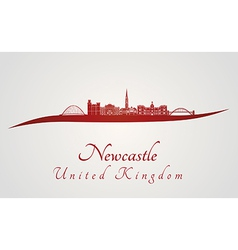 Newcastle skyline in red vector image vector image