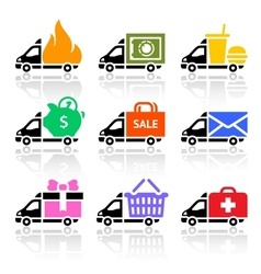 Delivery truck colored icons vector image vector image