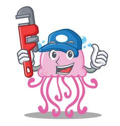 plumber cute jellyfish character cartoon vector image