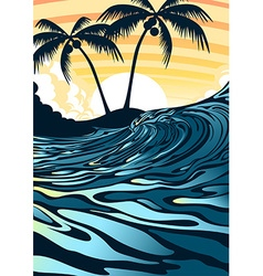 Surf beach at sunrise with palm trees vector image