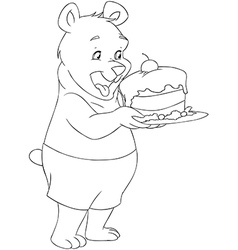 Young Bear Holding A Cake Coloring Page vector image vector image