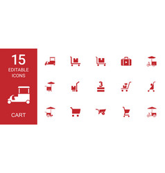 15 cart icons vector