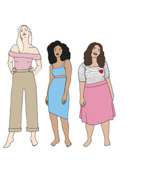 A group women with different body shapes vector