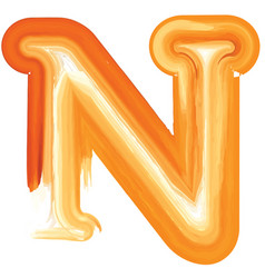Abstract oil paint letter n vector
