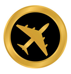 airplane button on white vector image